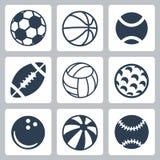 Διανυσματικά εικονίδια αθλητικών σφαιρών καθορισμένα Στοκ Φωτογραφία