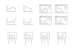 Διανυσματικά εικονίδια για την παρουσίαση υπολογιστών της δυναμικής αύξησης γραφικών παραστάσεων Στοκ Φωτογραφία