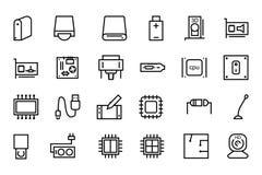 Διανυσματικά εικονίδια 3 γραμμών υλικού υπολογιστών Στοκ εικόνα με δικαίωμα ελεύθερης χρήσης