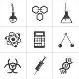 9 διανυσματικά εικονίδια επιστήμης Στοκ εικόνα με δικαίωμα ελεύθερης χρήσης