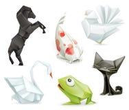 Διανυσματικά εικονίδια ζώων Origami Στοκ Φωτογραφία