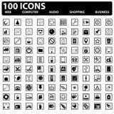 100 διανυσματικά εικονίδια Ιστού καθορισμένα. Ιστός, υπολογιστής, επιχείρηση, αγορές Στοκ Εικόνες