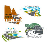 Διανυσματικά εικονίδια κατασκευής οδικών ταξιδιού ή εθνικών οδών Στοκ φωτογραφία με δικαίωμα ελεύθερης χρήσης