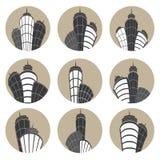 Διανυσματικά εικονίδια κτηρίων καθορισμένα επίσης corel σύρετε το διάνυσμα απεικόνισης Στοκ φωτογραφία με δικαίωμα ελεύθερης χρήσης
