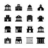 Διανυσματικά εικονίδια κυβέρνησης και δημόσιου κτιρίου Στοκ Εικόνες