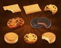 Διανυσματικά εικονίδια μπισκότων Στοκ εικόνα με δικαίωμα ελεύθερης χρήσης