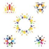 Διανυσματικά εικονίδια λογότυπων των ανθρώπων μαζί - σημάδι της ενότητας, partnershi Στοκ Εικόνα