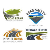 Διανυσματικά εικονίδια οδικών παρόδων ή εθνικών οδών καθορισμένα Στοκ Εικόνες