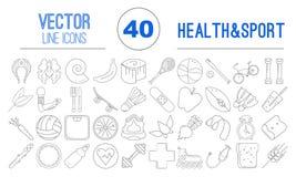 40 διανυσματικά εικονίδια περιλήψεων των υγιών τροφίμων και του αθλητισμού Στοκ Εικόνες