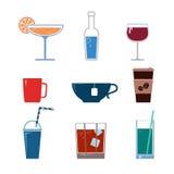 Διανυσματικά εικονίδια ποτών Στοκ Εικόνες