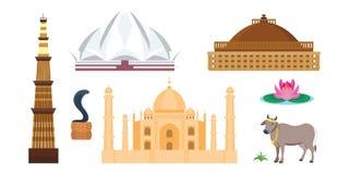 Διανυσματικά εικονίδια ταξιδιού της Ινδίας Στοκ εικόνα με δικαίωμα ελεύθερης χρήσης