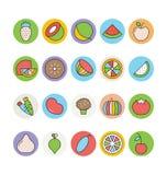 Διανυσματικά εικονίδια 4 φρούτων και λαχανικών Στοκ εικόνα με δικαίωμα ελεύθερης χρήσης