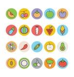 Διανυσματικά εικονίδια 2 φρούτων και λαχανικών Στοκ Εικόνες