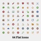 64 διανυσματικά εικονίδια Glyph Στοκ εικόνα με δικαίωμα ελεύθερης χρήσης