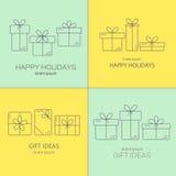 Διανυσματικά εμβλήματα με τα λεπτά εικονίδια γραμμών των κιβωτίων δώρων Στοκ Εικόνες
