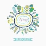 Διανυσματικά διακοσμητικά πλαίσια και φύλλο Στοιχεία άνοιξη Floral Doodles Στοκ Εικόνες