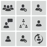 Διανυσματικά μαύρα εικονίδια ανθρώπων γραφείων καθορισμένα Στοκ εικόνα με δικαίωμα ελεύθερης χρήσης