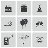 Διανυσματικά μαύρα εικονίδια γενεθλίων καθορισμένα Στοκ εικόνα με δικαίωμα ελεύθερης χρήσης