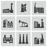 Διανυσματικά μαύρα εικονίδια εργοστασίων καθορισμένα Στοκ Φωτογραφία