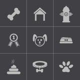 Διανυσματικά μαύρα εικονίδια σκυλιών καθορισμένα Στοκ εικόνα με δικαίωμα ελεύθερης χρήσης