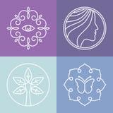 Διανυσματικά λογότυπα γραμμών ομορφιάς και SPA Στοκ Φωτογραφία