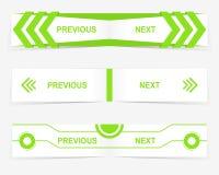 Διανυσματικά προηγούμενα και επόμενα κουμπιά ναυσιπλοΐας για το σχέδιο Ιστού συνήθειας Στοκ Εικόνες