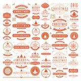 Διανυσματικά στοιχεία σχεδίου διακοσμήσεων Χριστουγέννων Στοκ Εικόνες