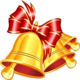 Διανυσματικά χρυσά κάλαντα με το κόκκινο τόξο. Στοκ εικόνα με δικαίωμα ελεύθερης χρήσης