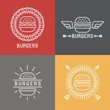 Διανυσματικά burger στοιχεία σχεδίου λογότυπων στο γραμμικό ύφος Στοκ φωτογραφία με δικαίωμα ελεύθερης χρήσης
