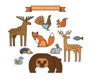 Διανυσματικές απεικονίσεις των δασικών ζώων Στοκ Εικόνες