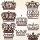 Διανυσματικές βασιλικές κορώνες για το σχέδιο Στοκ Εικόνα