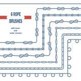 Διανυσματικές βούρτσες σχεδίων κόμβων σχοινιών Στοκ Εικόνες
