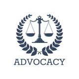 Διανυσματικές κλίμακες δικαιοσύνης εικονιδίων υπεράσπισης, στεφάνι δαφνών Στοκ Φωτογραφίες