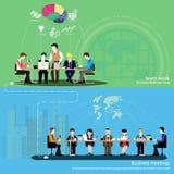 Διανυσματικές σύνοδοι 'brainstorming' και εργασίας επιχειρηματιών Στοκ Εικόνες