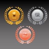 Διανυσματική δάφνη τρία χρυσός ασημένιος χαλκός eps 10 Στοκ Φωτογραφία