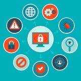 Διανυσματική έννοια ασφάλειας Διαδικτύου στο επίπεδο ύφος Στοκ Εικόνα