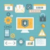 Διανυσματική έννοια Διαδικτύου και ασφαλείας πληροφοριών στο επίπεδο ύφος Στοκ Φωτογραφία