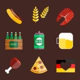 Διανυσματική απεικόνιση εικονιδίων Oktoberfest καθορισμένη Στοκ εικόνες με δικαίωμα ελεύθερης χρήσης