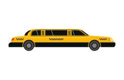 Διανυσματική απεικόνιση μεταφορών limousine οδικών κίτρινη ταξί πόλεων Στοκ Εικόνες