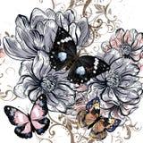 Διανυσματική απεικόνιση με τις εκλεκτής ποιότητας πεταλούδες και το λουλούδι magnolia Στοκ εικόνα με δικαίωμα ελεύθερης χρήσης