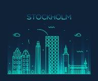 Διανυσματική απεικόνιση οριζόντων της Στοκχόλμης γραμμική Στοκ Εικόνες