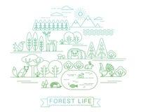 Διανυσματική απεικόνιση της δασικής ζωής Στοκ Φωτογραφίες
