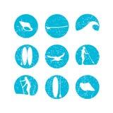 Διανυσματική απεικόνιση της στάσης που κωπηλατεί επάνω το σύνολο εικονιδίων σκιαγραφιών μέσα Στοκ φωτογραφίες με δικαίωμα ελεύθερης χρήσης