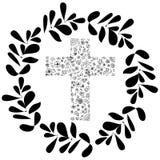 Διανυσματική απεικόνιση της Flora Cross με το πράσινο σχέδιο φύλλων κύκλων Διακόσμηση για το έργο τέχνης χριστιανισμού Στοκ Φωτογραφίες