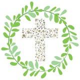 Διανυσματική απεικόνιση της Flora Cross με το πράσινο σχέδιο φύλλων κύκλων Στοκ φωτογραφίες με δικαίωμα ελεύθερης χρήσης