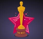 Διανυσματική απεικόνιση του κίτρινου βραβείου κινηματογράφων με το κόκκινο μεγάλο αστέρι Στοκ φωτογραφία με δικαίωμα ελεύθερης χρήσης