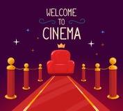 Διανυσματική απεικόνιση του κόκκινου χαλιού αστεριών και της πολυθρόνας κινηματογράφων με Στοκ Εικόνα
