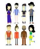 Διανυσματική απεικόνιση των διαφορετικών χαρακτήρων ανθρώπων, καθορισμένη συλλογή Στοκ Φωτογραφίες