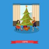 Διανυσματική απεικόνιση των παιδιών με τα δώρα Χριστουγέννων στο επίπεδο ύφος Στοκ εικόνες με δικαίωμα ελεύθερης χρήσης