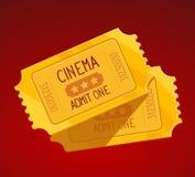 Διανυσματική απεικόνιση δύο κίτρινων εισιτηρίων κινηματογράφων Στοκ Εικόνες